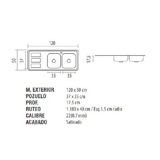 [54222811] FREGADERO(239923)ACERO INOX 120x50 Der DT-E c/accs