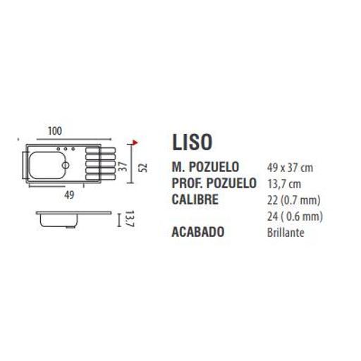 [54222997] FREGADERO(277081) ACERO INOX 100x50 Der E c/accs