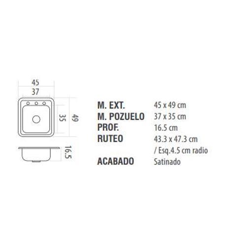 [54222998] FREGADERO(237082) ACERO INOX 45x49cm  E c/accs